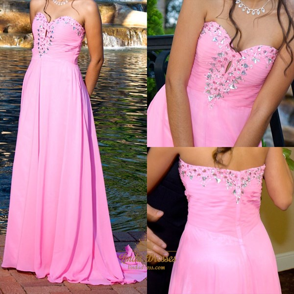Hot Pink Strapless A-Line Chiffon Evening Dress With Beaded Neckline