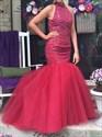 Keyhole Back Drop Waist Tulle Mermaid Prom Dress With Beaded Bodice