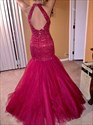 Show details for Keyhole Back Drop Waist Tulle Mermaid Prom Dress With Beaded Bodice