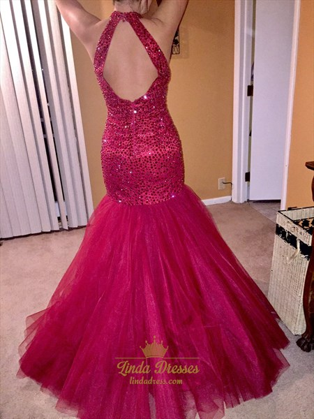 Keyhole Back Drop Waist Tulle Mermaid Prom Dress With ...