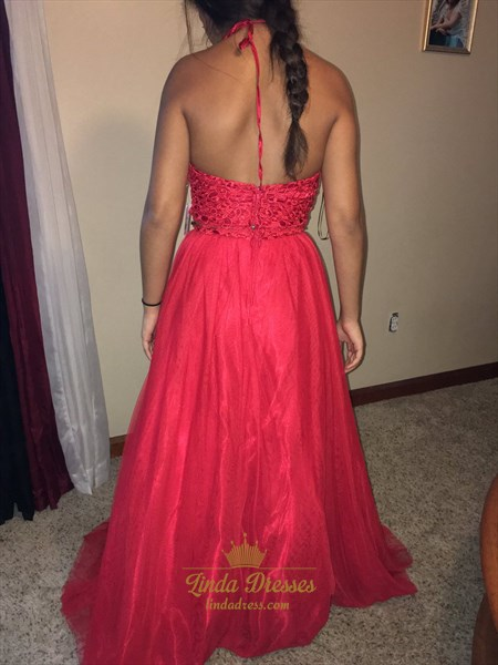 Halter A-Line Floor Length Two Piece Tulle Prom Dress With Open Back