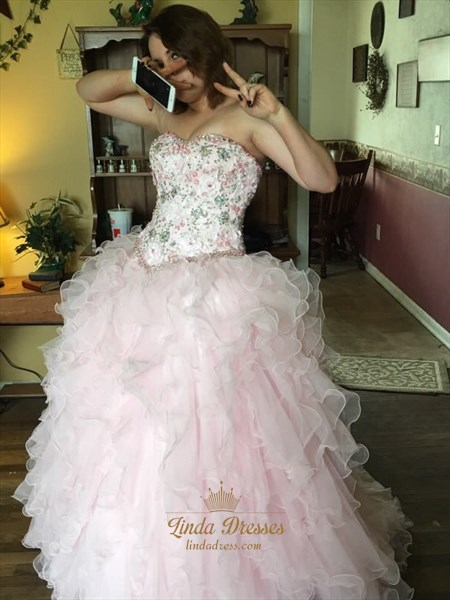 Light Pink Strapless Embellished Bodice Floor Length Ruffle Ball Gown