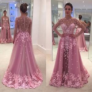 A-Line Long Sleeve Illusion Floral Applique Embellished Formal Dress