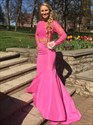Two Piece Long Sleeve Floor Length Satin Mermaid Gown With Lace Bodice