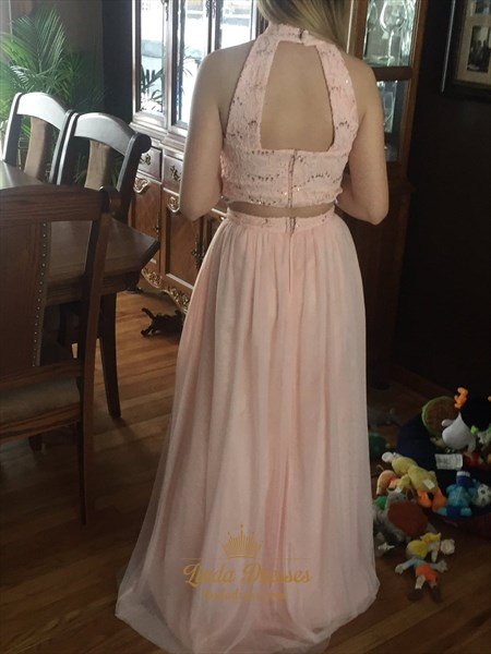 High Neck A-Line Two Piece Lace Bodice Chiffon Floor-Length Prom Dress