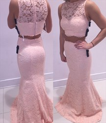 Light Pink Sleeveless Mermaid Floor Length Two Piece Lace Formal Dress