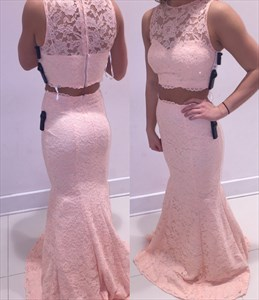 Light Pink Sleeveless Mermaid Floor Length Two Piece Lace Formal Dress