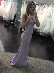 Elegant Lavender Mermaid Long Lace Evening Dress With Front Keyhole