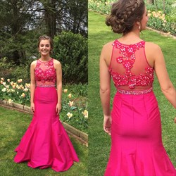 Elegant Fuchsia Sleeveless Mermaid Evening Dress With Illusion Bodice