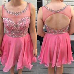 Sleeveless Jewel Embellished Short Homecoming Dress With Keyhole Back