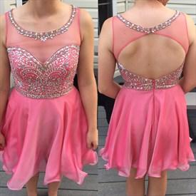 Sleeveless Jewel Embellished Short Homecoming Dress With Keyhole Back