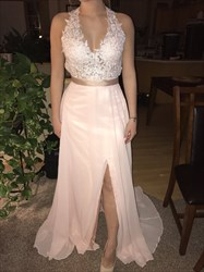 Light Pink Sleeveless V-Neck A-Line Floor-Length Lace Chiffon Dress