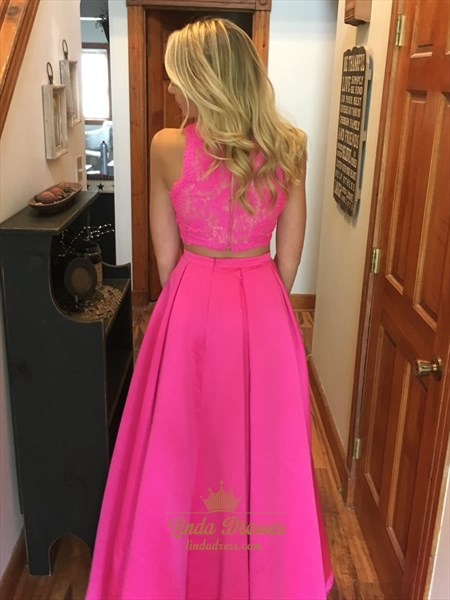 Floor Length Two Piece Sleeveless A-Line Prom Dress With Lace Bodice