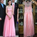 Show details for Pink Sleeveless A-Line Floor Length Evening Gown With Illusion Bodice