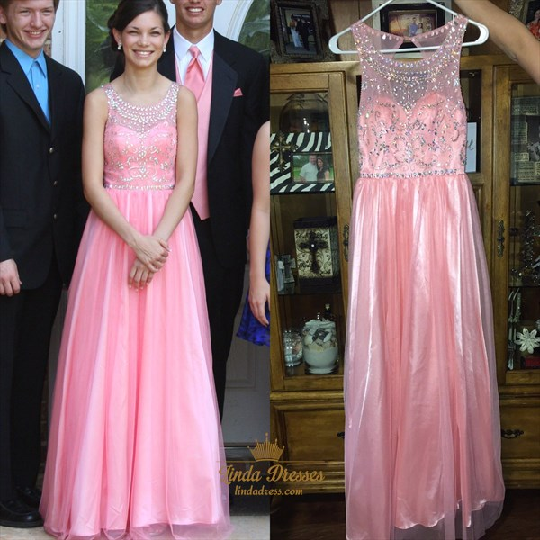 Pink Sleeveless A-Line Floor Length Evening Gown With Illusion Bodice