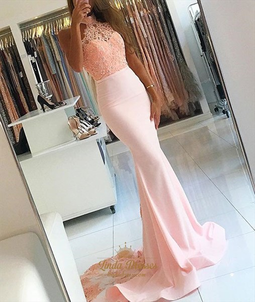 Pale Pink Halter High Neckline Lace Embellished Mermaid Evening Dress