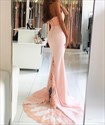 Show details for Pale Pink Halter High Neckline Lace Embellished Mermaid Evening Dress