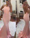 Show details for Simple Pink Spaghetti Strap Backless Floor Length Mermaid Evening Gown
