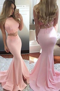 Pink Lace Embellished Two Piece Mermaid Evening Dress With Open Back