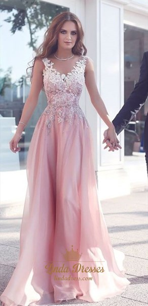 Elegant Sleeveless A-Line Floor Length Chiffon Prom Dress With Lace