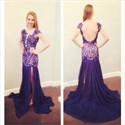Show details for Purple Open Back Cap Sleeve Drop Waist Mermaid Chiffon Formal Dress