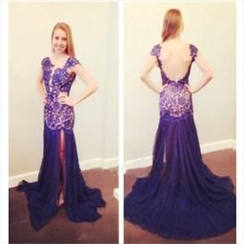 Purple Open Back Cap Sleeve Drop Waist Mermaid Chiffon Formal Dress