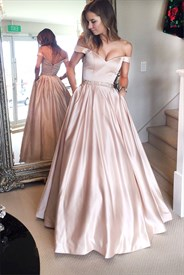 Floor Length Off-The-Shoulder Beaded Waist Ball Gown With Open Back