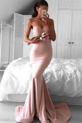 Simple Pale Pink Strapless Sweetheart Lace Top Satin Long Mermaid Gown