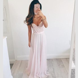 Light Pink Floor Length Sleeveless Lace Bodice Chiffon Gown With Strap
