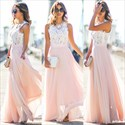Show details for Elegant A-Line Sleeveless Lace Bodice Chiffon Bottom Long Prom Dress