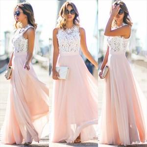 Elegant A-Line Sleeveless Lace Bodice Chiffon Bottom Long Prom Dress