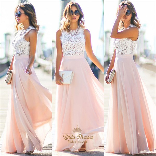 Elegant A-Line Sleeveless Lace Bodice Chiffon Bottom Long Prom Dress
