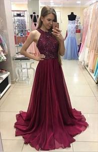 Burgundy Sleeveless Beaded Bodice Chiffon A-Line Long Evening Dress