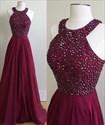 Show details for Burgundy Sleeveless Beaded Bodice Chiffon A-Line Long Evening Dress