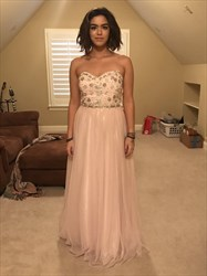 Light Pink Strapless Embellished Top A-Line Chiffon Long Prom Dress