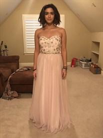 Light Pink Strapless Embellished Top A-Line Chiffon Long Prom Dress