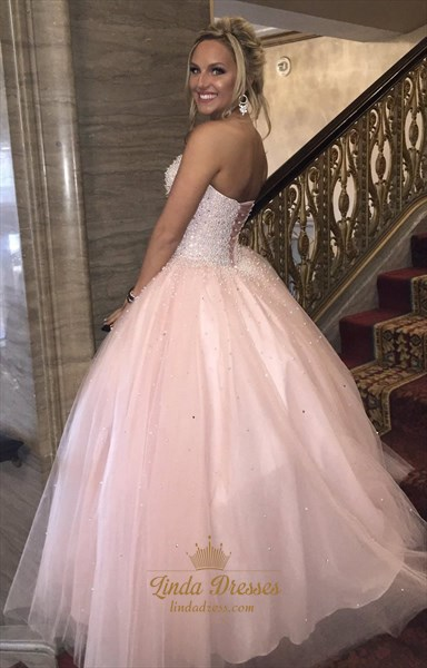 Strapless Sweetheart Beaded Embellished Floor Length Tulle Ball Gown