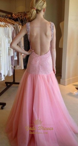 Baby Pink Sleeveless Drop Waist Mermaid Evening Dress With Beaded Top