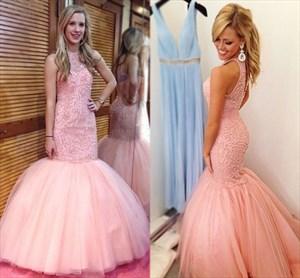 Floor Length Pink Drop Waist Beaded Bodice Tulle Mermaid Prom Dress
