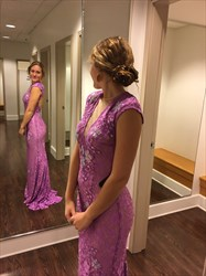 Purple Cap Sleeve Mermaid Lace Long Prom Dress With Keyhole Open Back