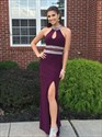 Grape Floor Length Side Slit Chiffon Dress With Beaded Hater And Waist