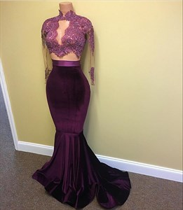 Purple High Neck Illusion Long Sleeve Drop Waist Mermaid Formal Gown