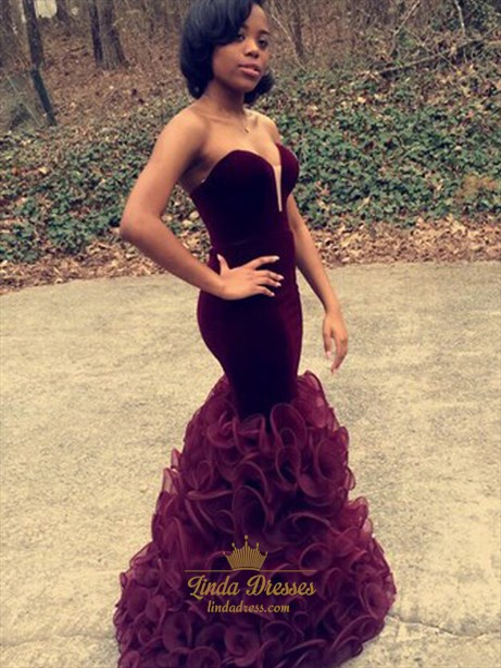 Grape Strapless Sweetheart Ruffle Mermaid Floor Length Formal Dress