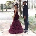 Show details for Grape Strapless Sweetheart Ruffle Mermaid Floor Length Formal Dress