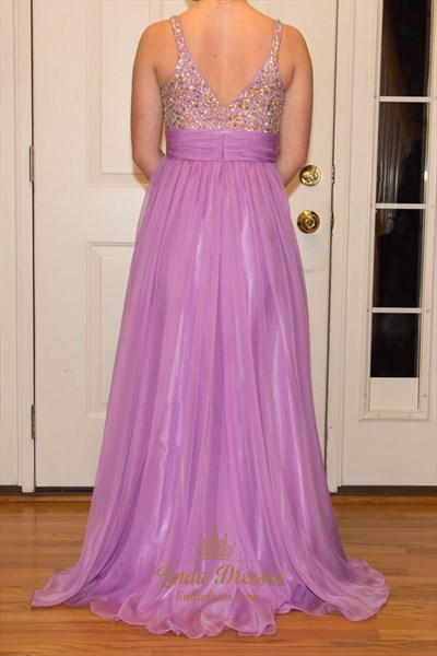 Lavender Sleeveless V-Neck A-Line Chiffon Prom Gown With Beaded Bodice