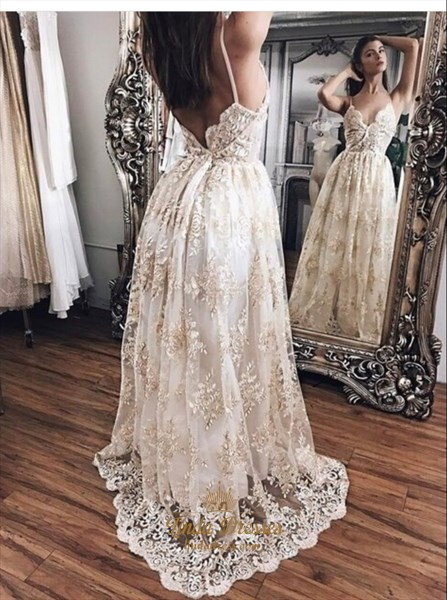 Show details for Spaghetti Strap V-Neck A-Line Lace Overlay Prom Dress With Open Back