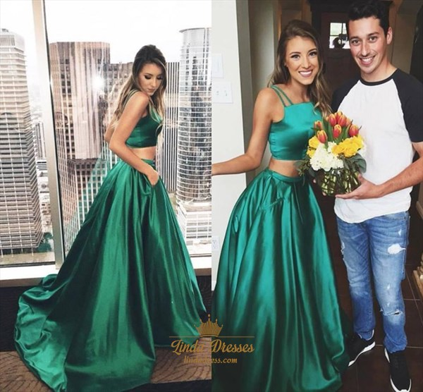 Emerald Green Simple Sleeveless Floor Length Two Piece Ball Gown Dress