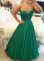 Emerald Green Sleeveless Lace Bodice Evening Dress With Sheer Neckline