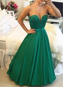 Emerald Green Sleeveless Lace Bodice Evening Dress With Sheer Neckline