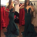 Show details for Dark Green Strapless Low Back Floor Length Sheath Mermaid Evening Gown